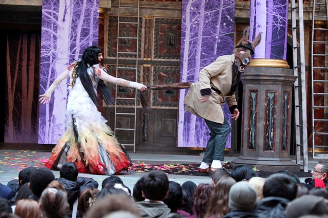 Emma Pallant (Titania) and Russell Layton (Bottom) in Globe Education's production of A Midsummer Night's Dream, part of Playing Shakespear with Deutsche Bank project.